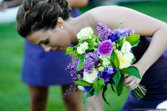bright purple green and ivory wedding bouquet