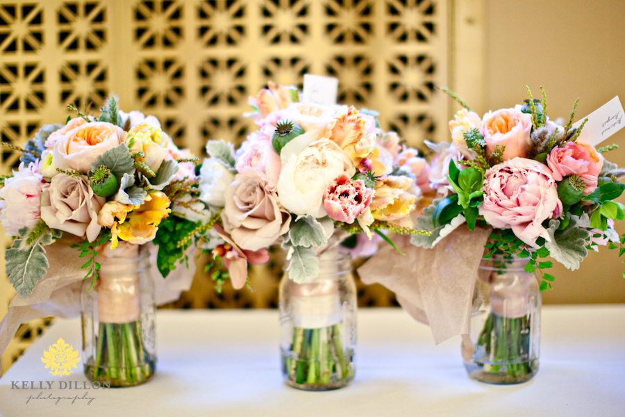 Luxe textured wedding bouquets in a row