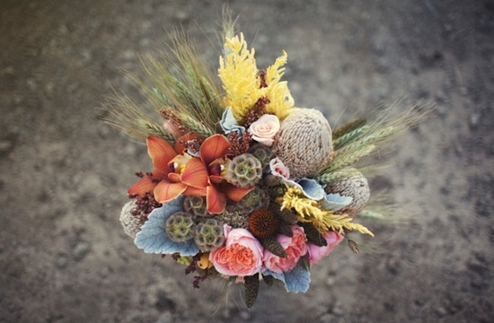 Autumn Rustic Wedding Bouquet With Wheat