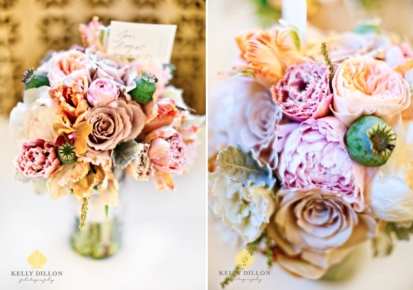 Romantic fall wedding bouquet with roses and peonies