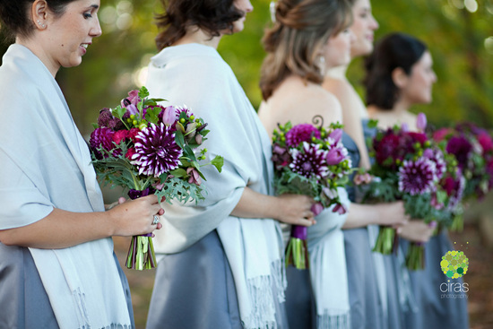 Deep purple and green bridesmaid bouquets for fall