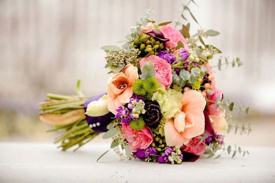Bright Fall Wedding Bouquet In Peach Pink Purple And Green