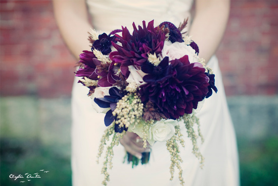 Deep purple dahlia wedding bouquet for fall