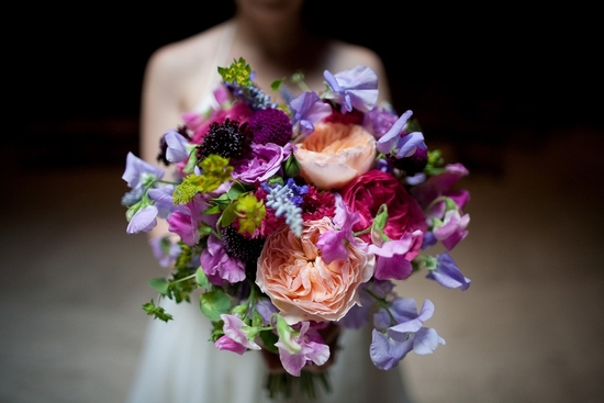 purple peach and pink whimsical wedding bouquet