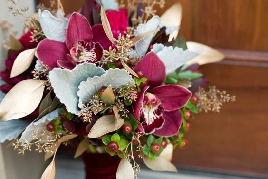 Burgundy And Soft Sage Green Wedding Bouquet