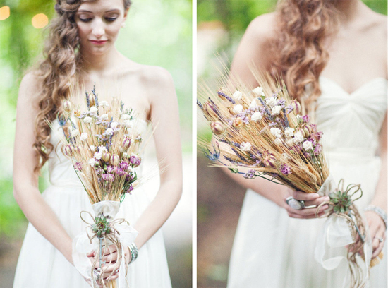 organic wedding bouquet for fall