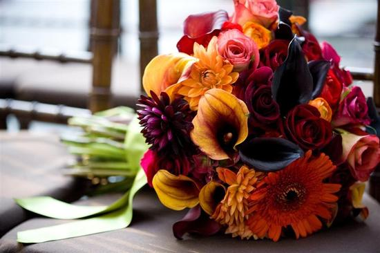 burgundy and marigold fall wedding bouquet