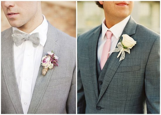 dapper grooms attire light and dark charcoal suits