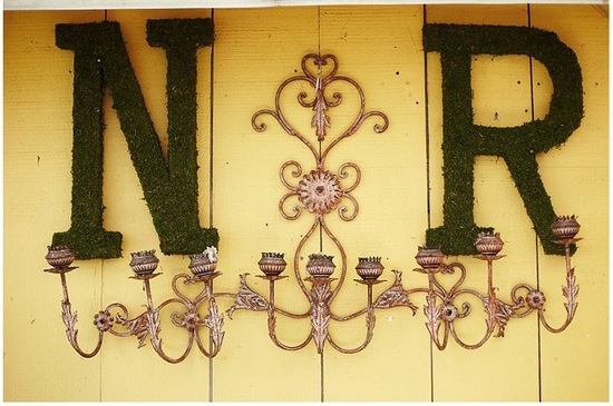Moss wedding monogram hanging on the wall