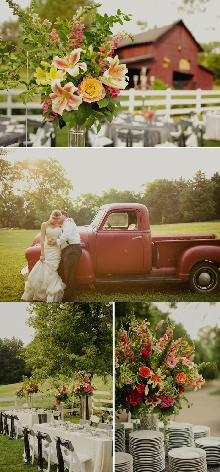 Bride-groom-pose-by-antique-truck-outdoor-wedding-ceremony-reception-with-vibrant-flowers.full