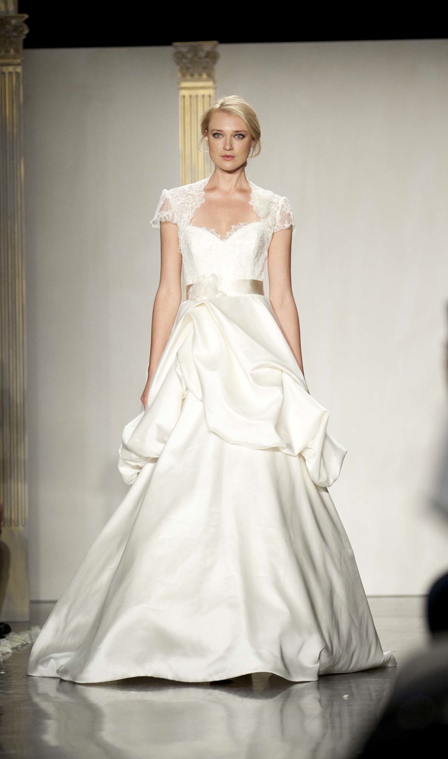 Cap sleeve a line wedding dress for Capped sleeves wedding dress