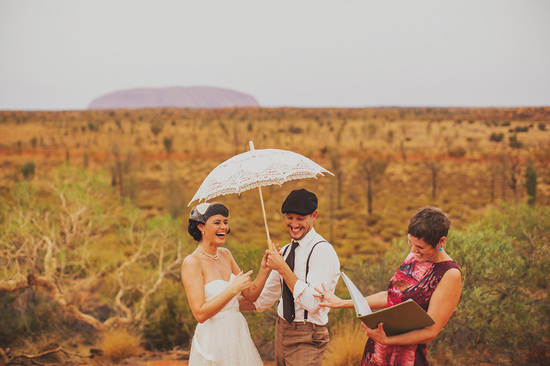 Eloped in Uluru - Intimate exchanging of vows