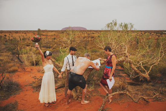 Eloped in Uluru - Exchanging vows with excitement