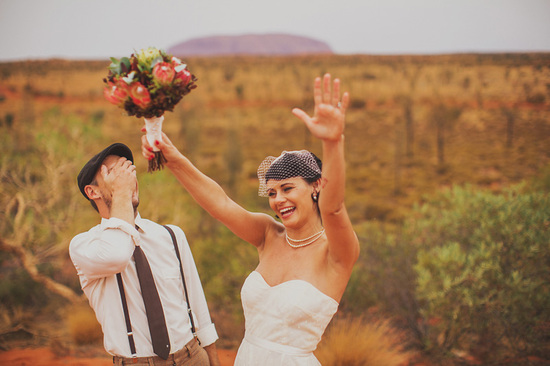 Eloped in Uluru - Bride and groom celebrate getting hitched