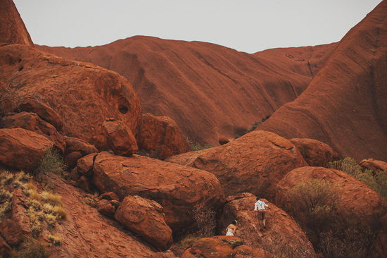 Eloped in Uluru - Bride and groom take a hike