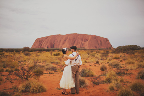 Eloped in Uluru - Post-ceremony fun for the bride and groom