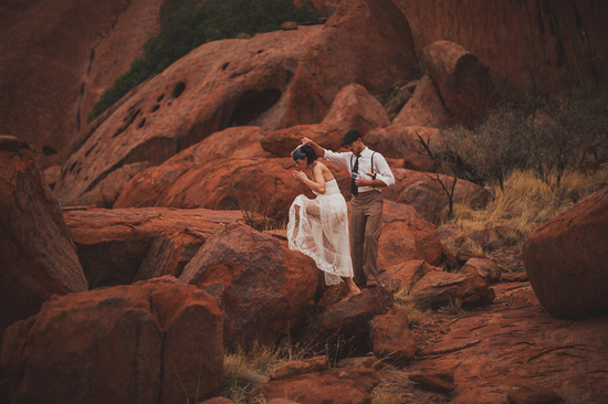 Eloped in Uluru - Couples portraits in the desert