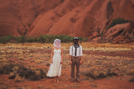 Eloped in Uluru - Bride and groom go Desert Chic