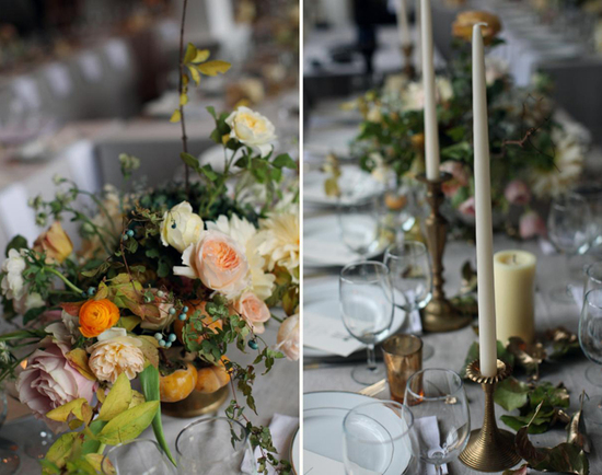 Autumn Wedding Flowers and Decor - Candlelit Reception