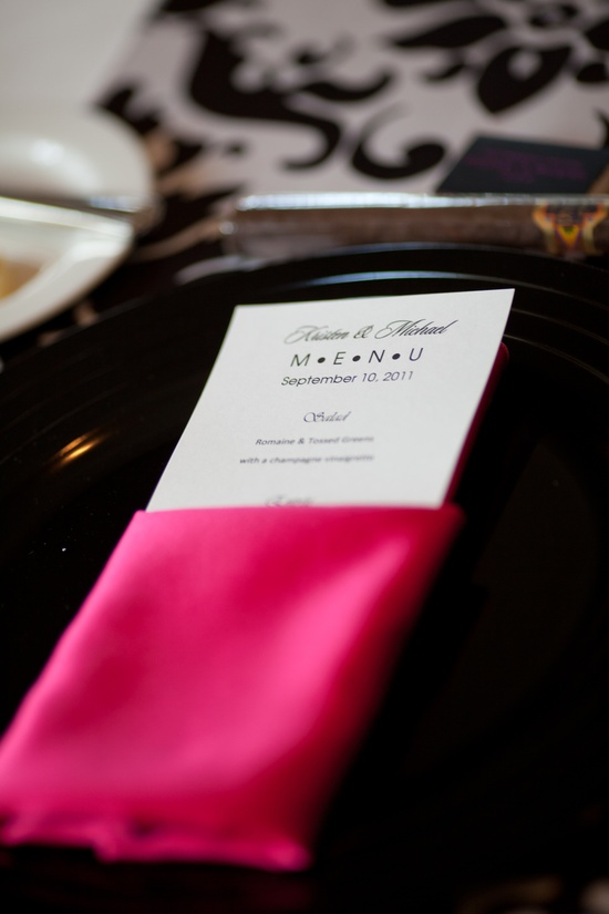 Hot pink and black wedding reception menus