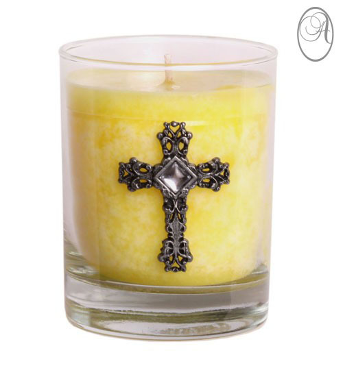 Cross Candle in Glass