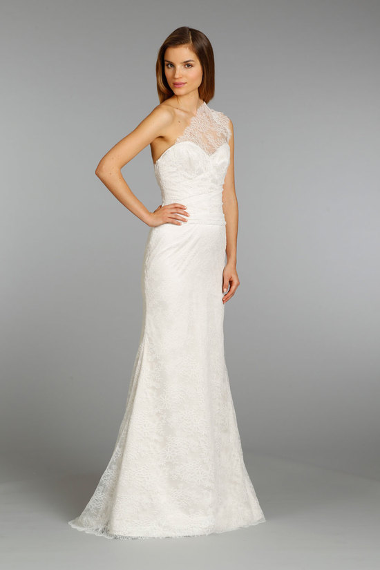 Ivory Lace One Shoulder Wedding Dress