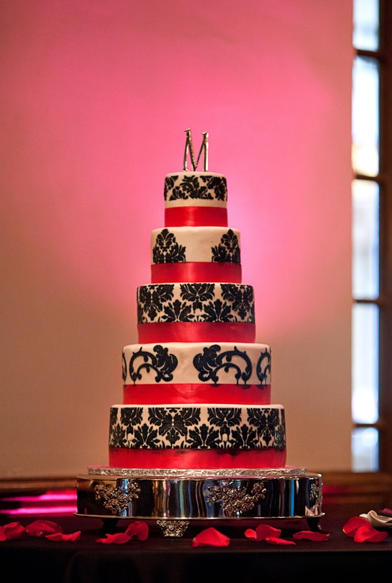 photo of Hot Pink, Green with Black + White Damask Real Wedding