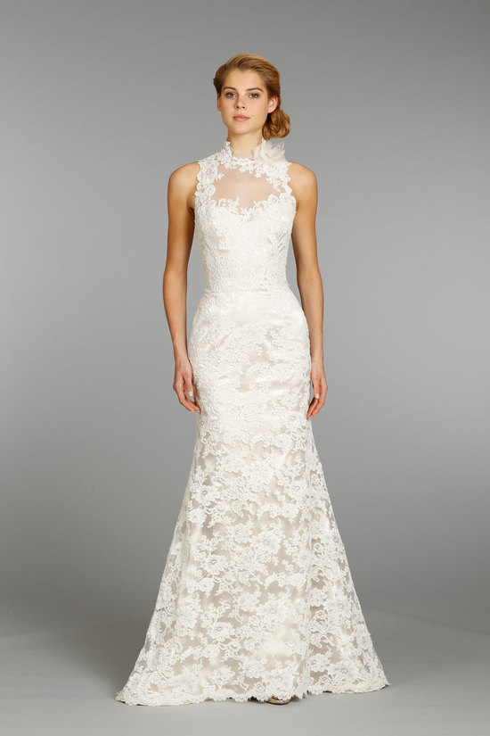 High Neck Ivory Wedding Dress