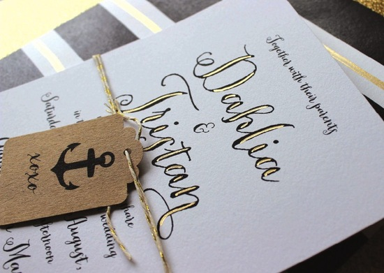 Hand Painted Gold Black And White Wedding Invitations