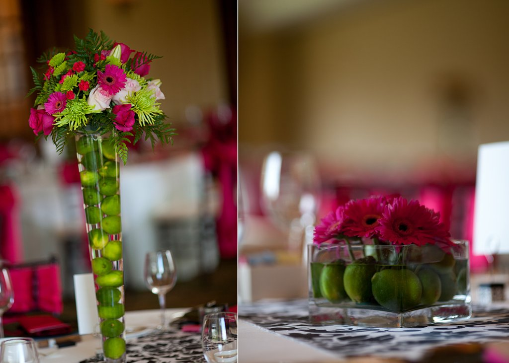 Lime green and hot pink wedding reception decor and wedding flowers mightylinksfo