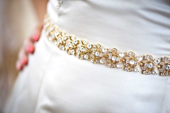gold beaded bridal belt to adorn a simple wedding dress