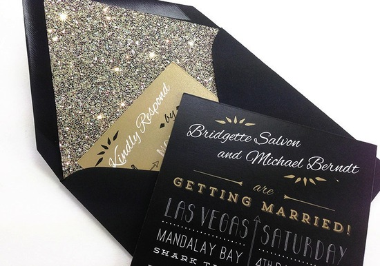 glamorous gold black and white wedding invitations