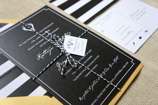 modern glam wedding invites in black gold and white