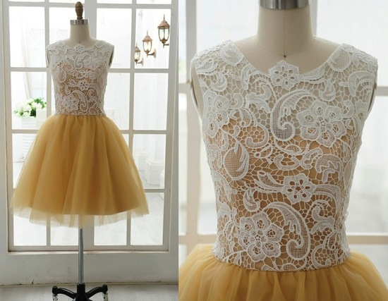 photo of gold tulle with lace bridesmaid dress