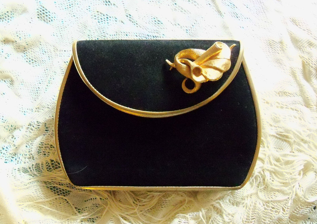 upcycled vintage wedding clutch in gold and black