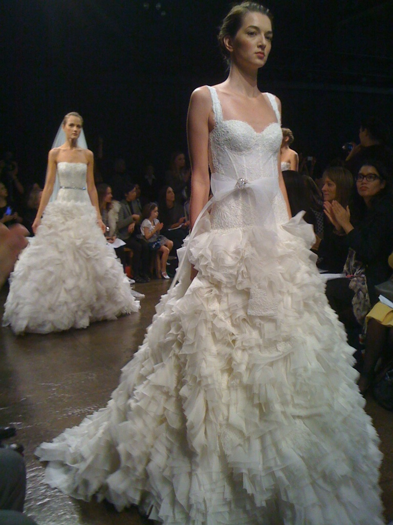 Pouffy pink white pastel fluffy cloudy pretties on for Monique lhuillier brooke wedding dress
