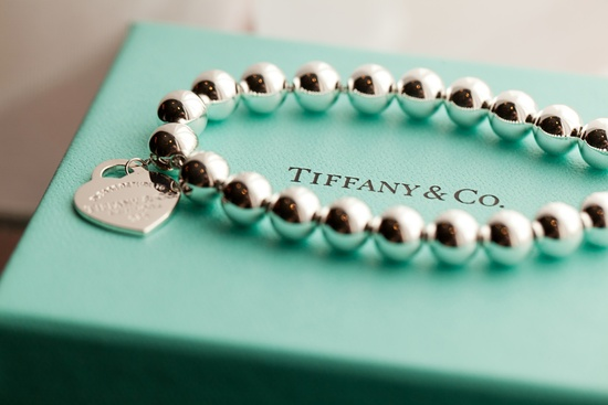 Bride wears Tiffany's bridal bracelet