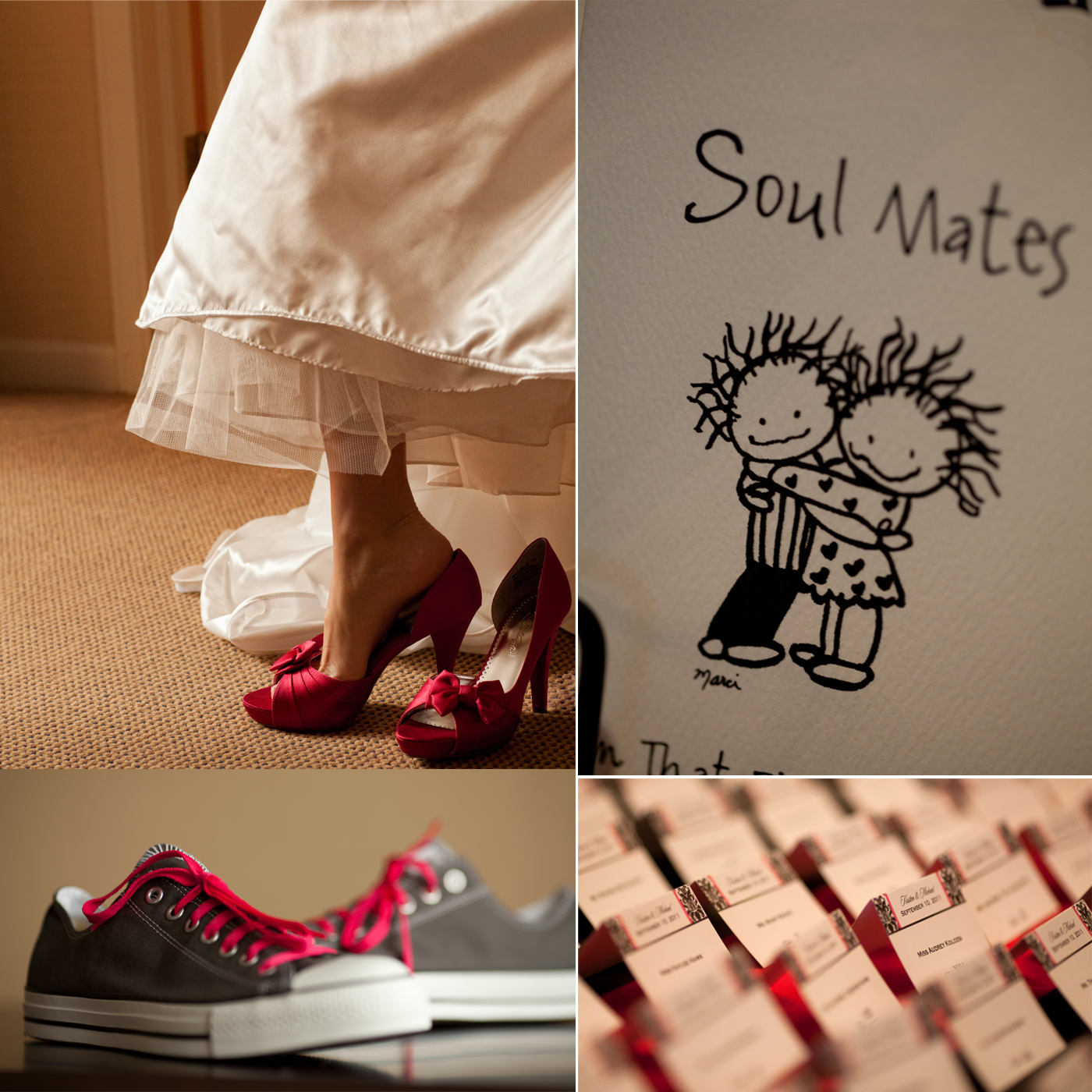 Red wedding shoes white wedding dress damask escort cards.original.png