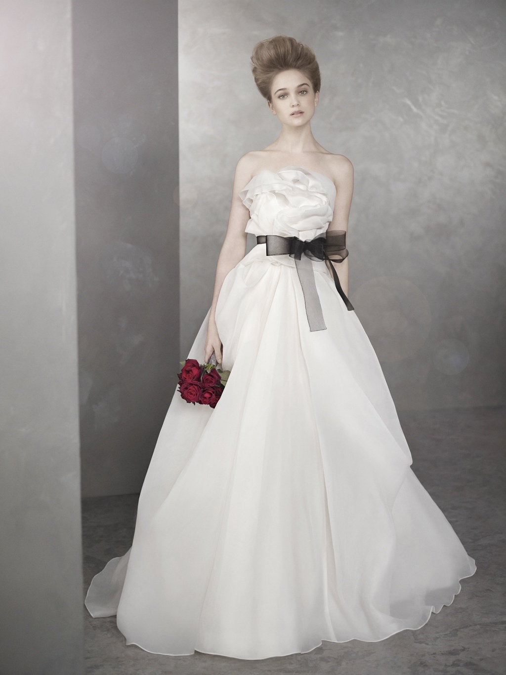 Romantic white by vera wang wedding dress with black sash for White vera wang wedding dresses