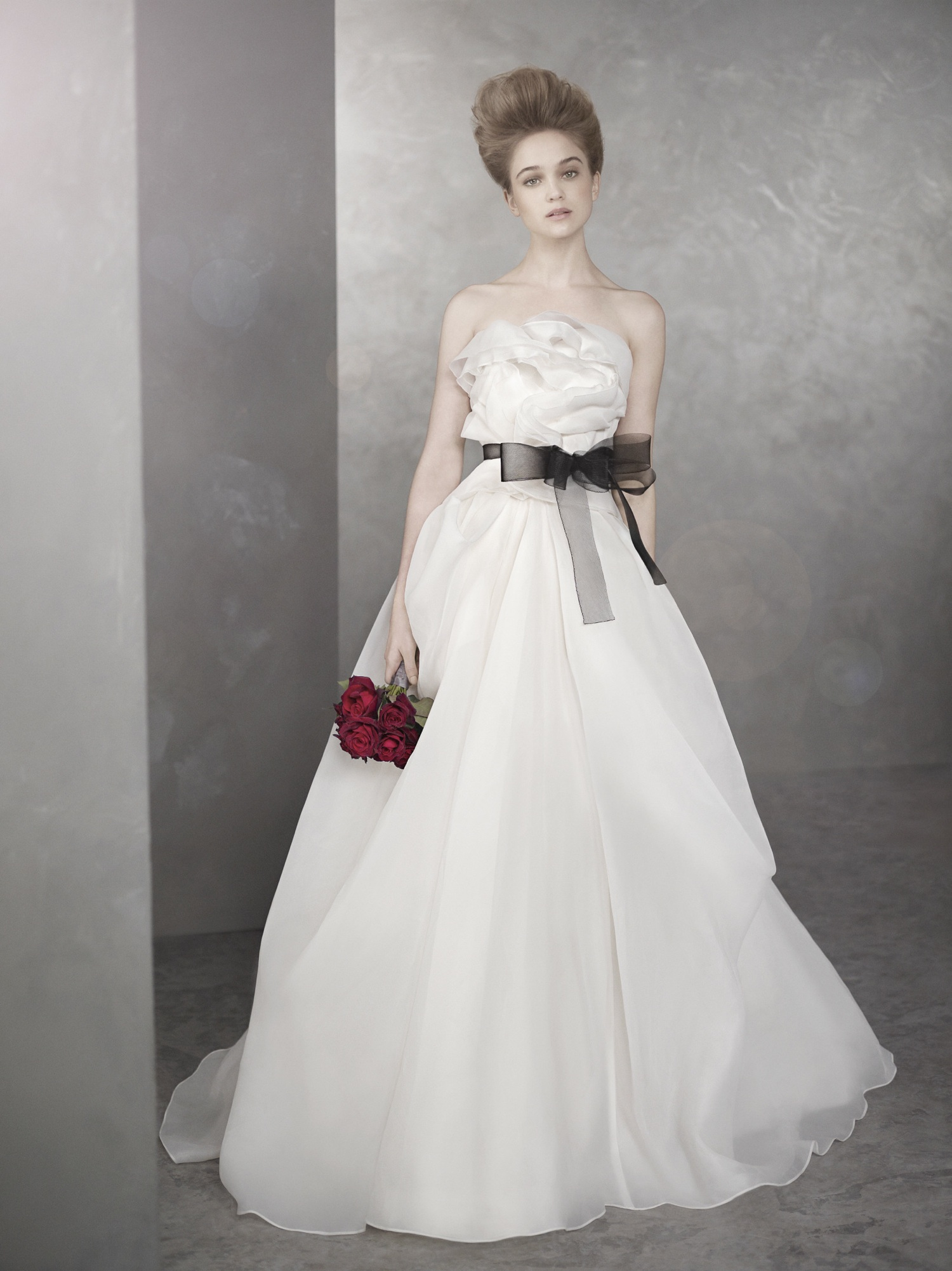 Romantic white by vera wang wedding dress with black sash for Vera wang used wedding dress