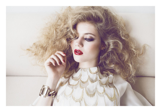 Bridal Beauty Inspiration Big Hair Red Glossy Lips