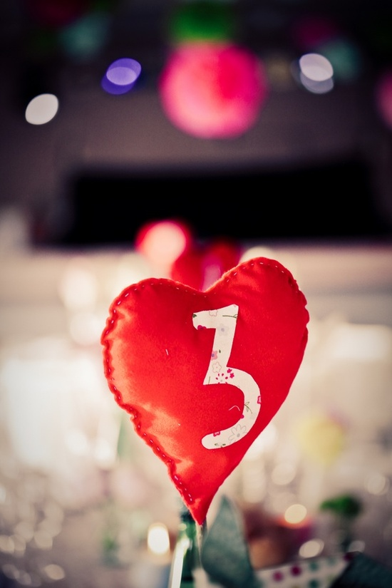 Heart-shaped table numbers
