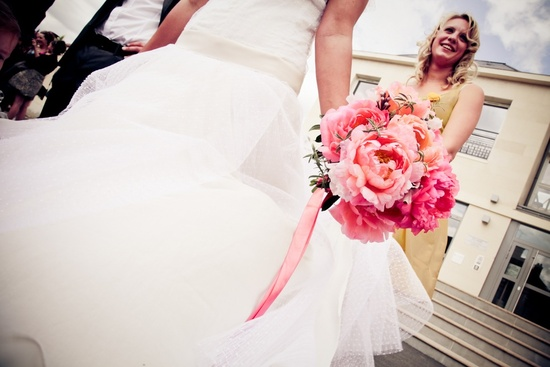 White wedding dress with pink peony bouquet