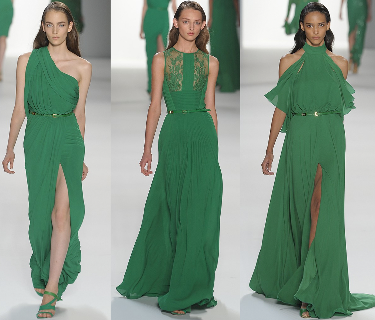 emerald green bridal party gowns