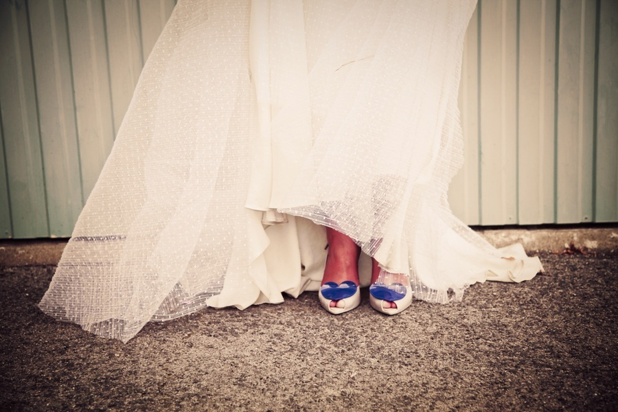 Lace wedding dress, Vivienne Westwood wedding shoes