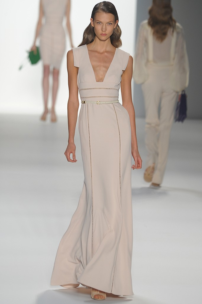 Ivory structured wedding dress with deep v neck and for Elie saab prices wedding dress