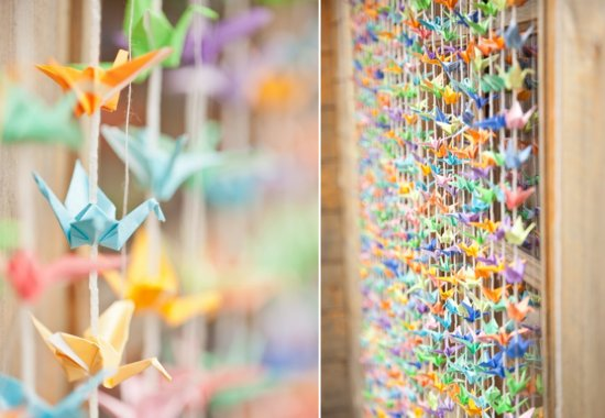 Colorful Wedding Backdrop With Origami Cranes