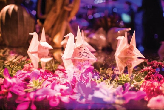 Modern Wedding Reception With Paper Crane Escort Cards