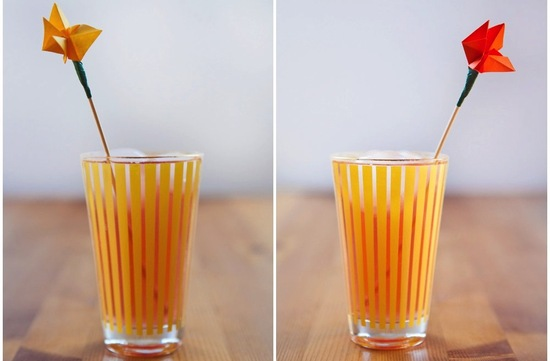 Bright Origami Wedding Drink Stirs