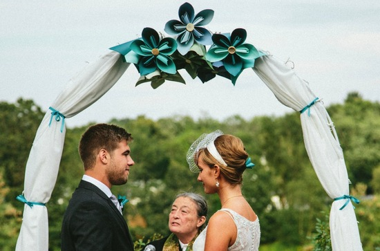 Origami Flower Adorned Wedding Ceremony Arbor